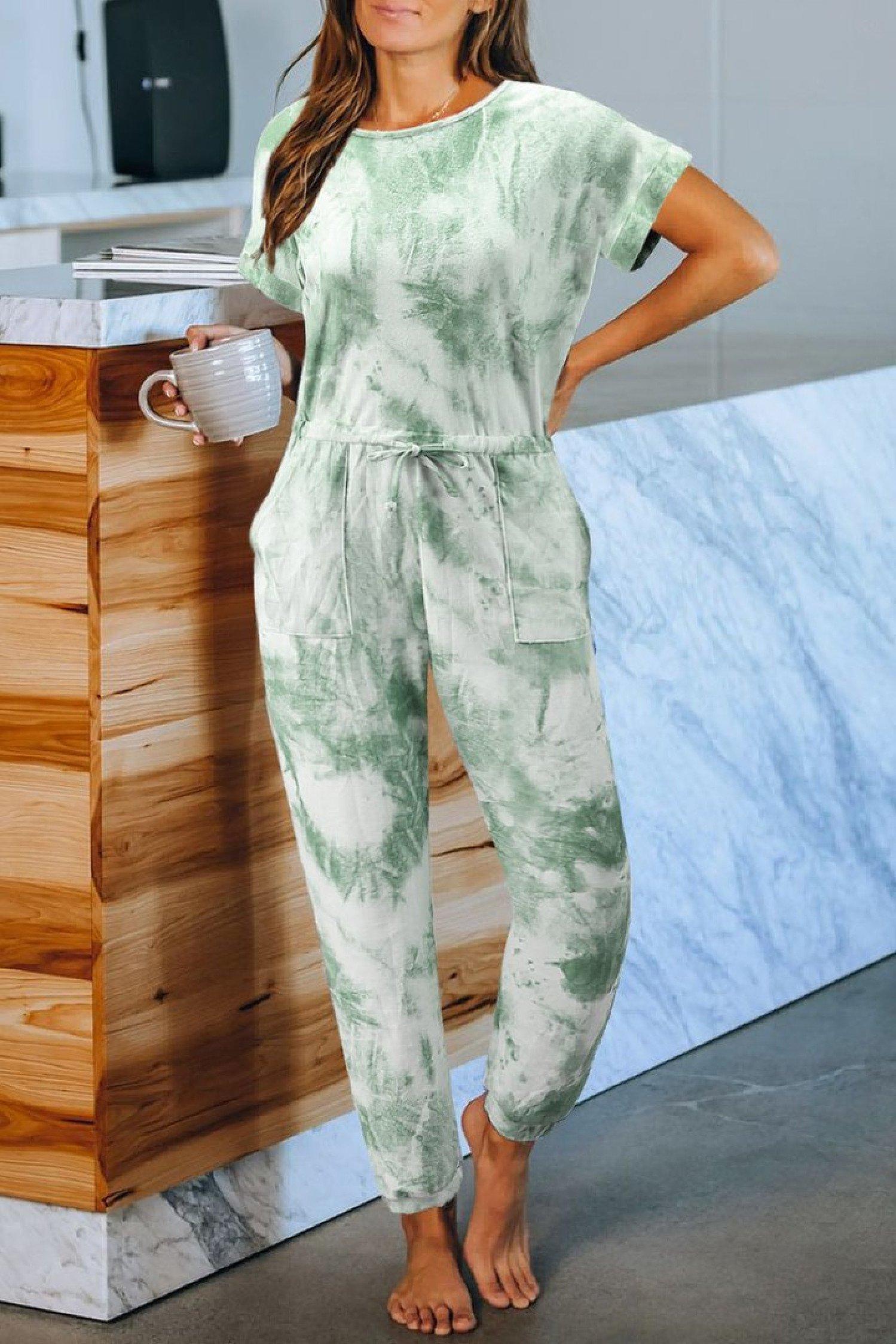 Green Pocketed Tie-dye Knit Jumpsuit Ladies Free Postage