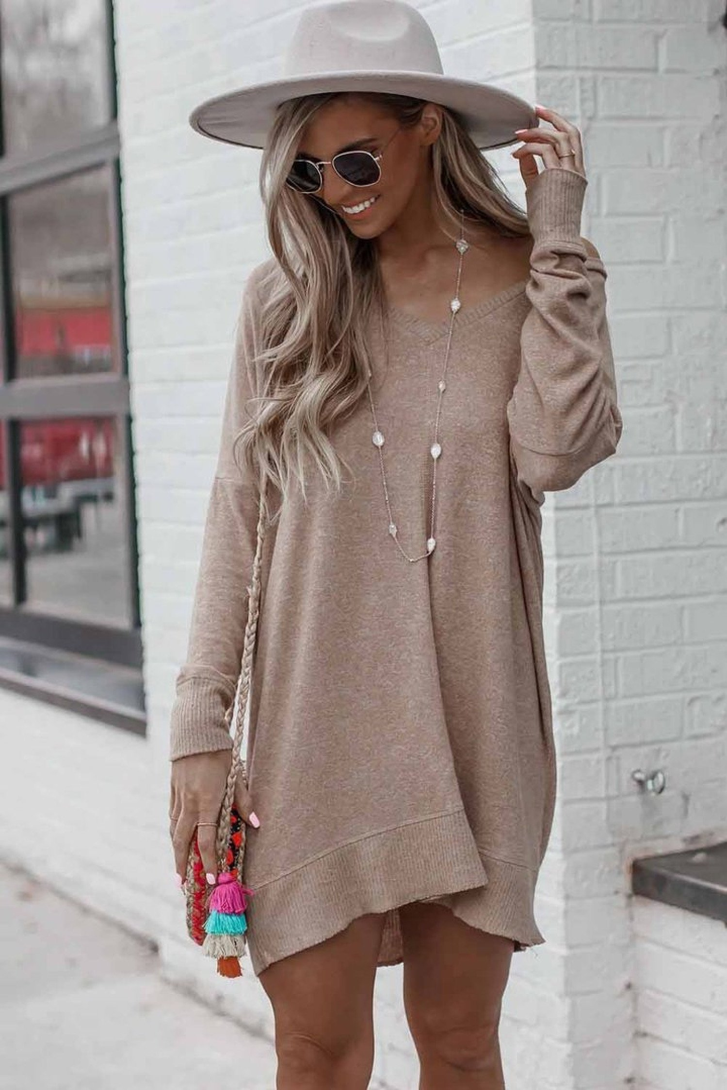 Taupe Long Sleeve Sweater Dress Ladies Free Postage