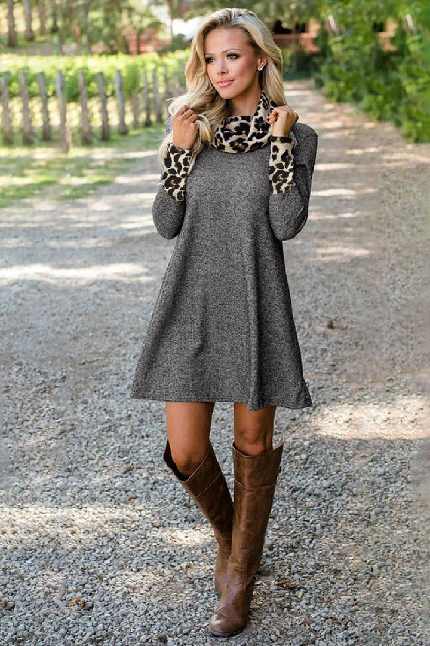 Charcoal Leopard Cowl Scarf and Cuff Cotton Mini Dress Ladies Free Postage