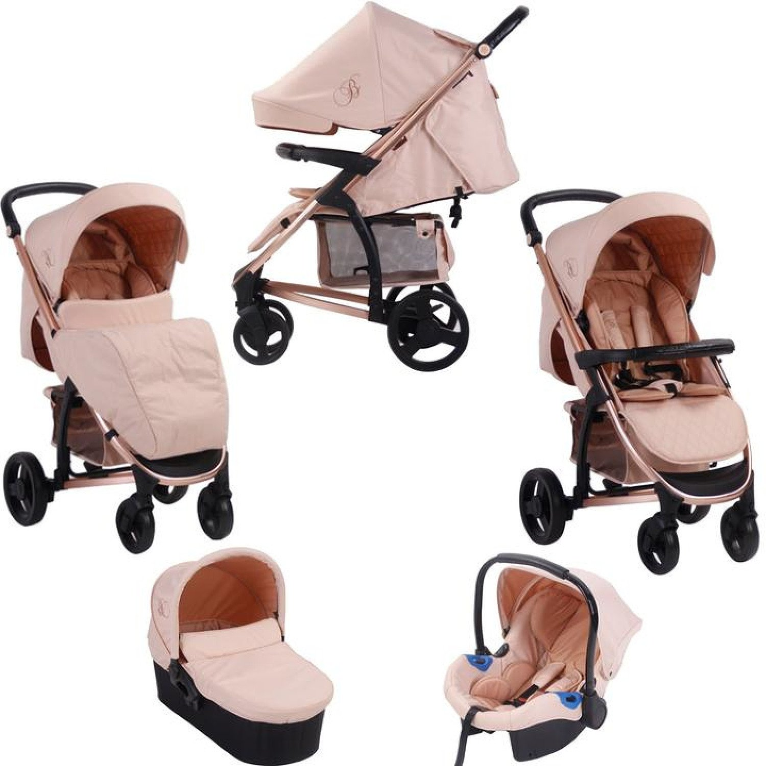 My Babiie MB200+ *Billie Faiers Collection* Travel System & Carrycot - Rose Gold & Blush Free Postag