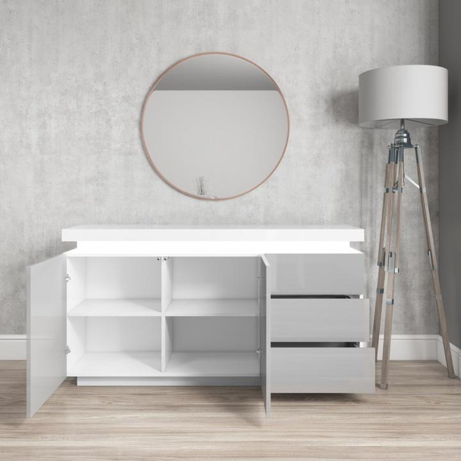 Grey & White Gloss Sideboard with LED Lights - Large - Vivienne Free Postage