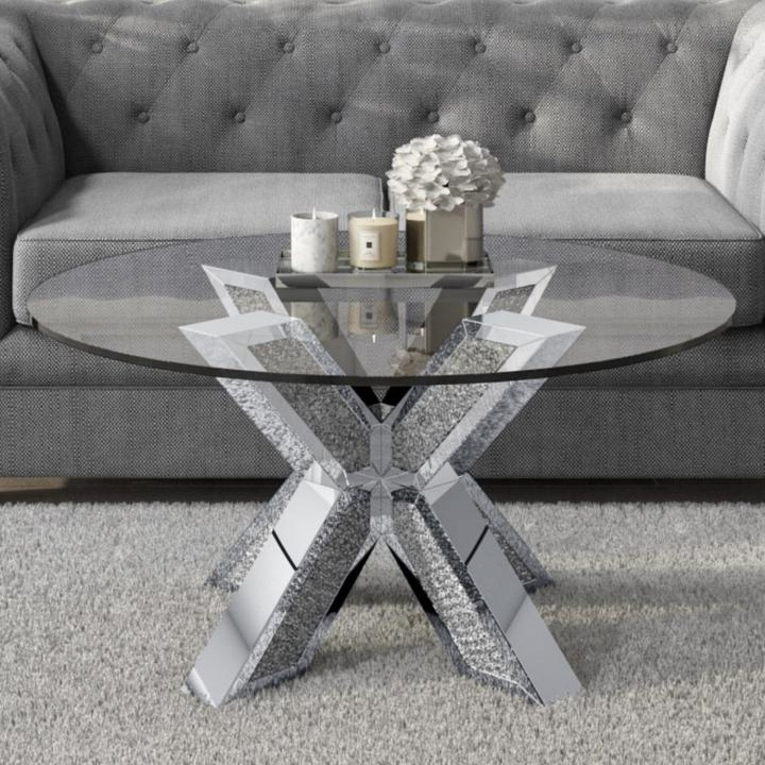 Round Coffee Table with Glass Top and Silver Glitter Base - Jade Boutique Free Postage