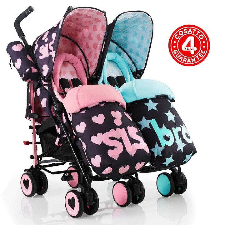 Cosatto Supa Dupa Twin Pushchair Stroller - Sis & Bro 5 Free Postage