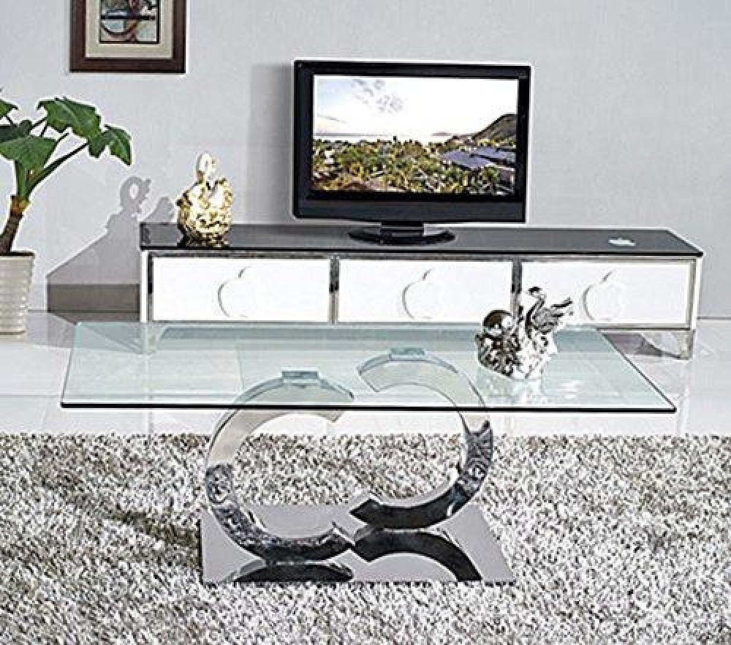 Channel Designer Coffee Table [Glass and Polished Steel] Free Postage