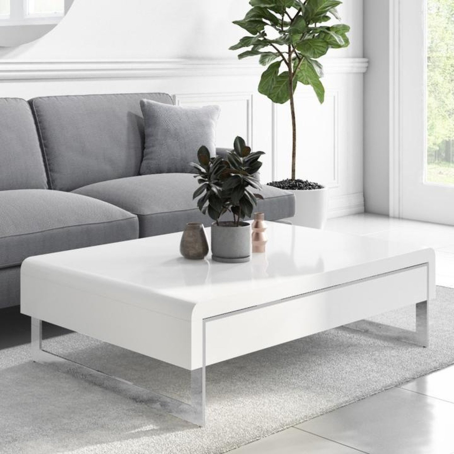 White Gloss Curved Coffee Table with Drawer - Tiffany Free Postage