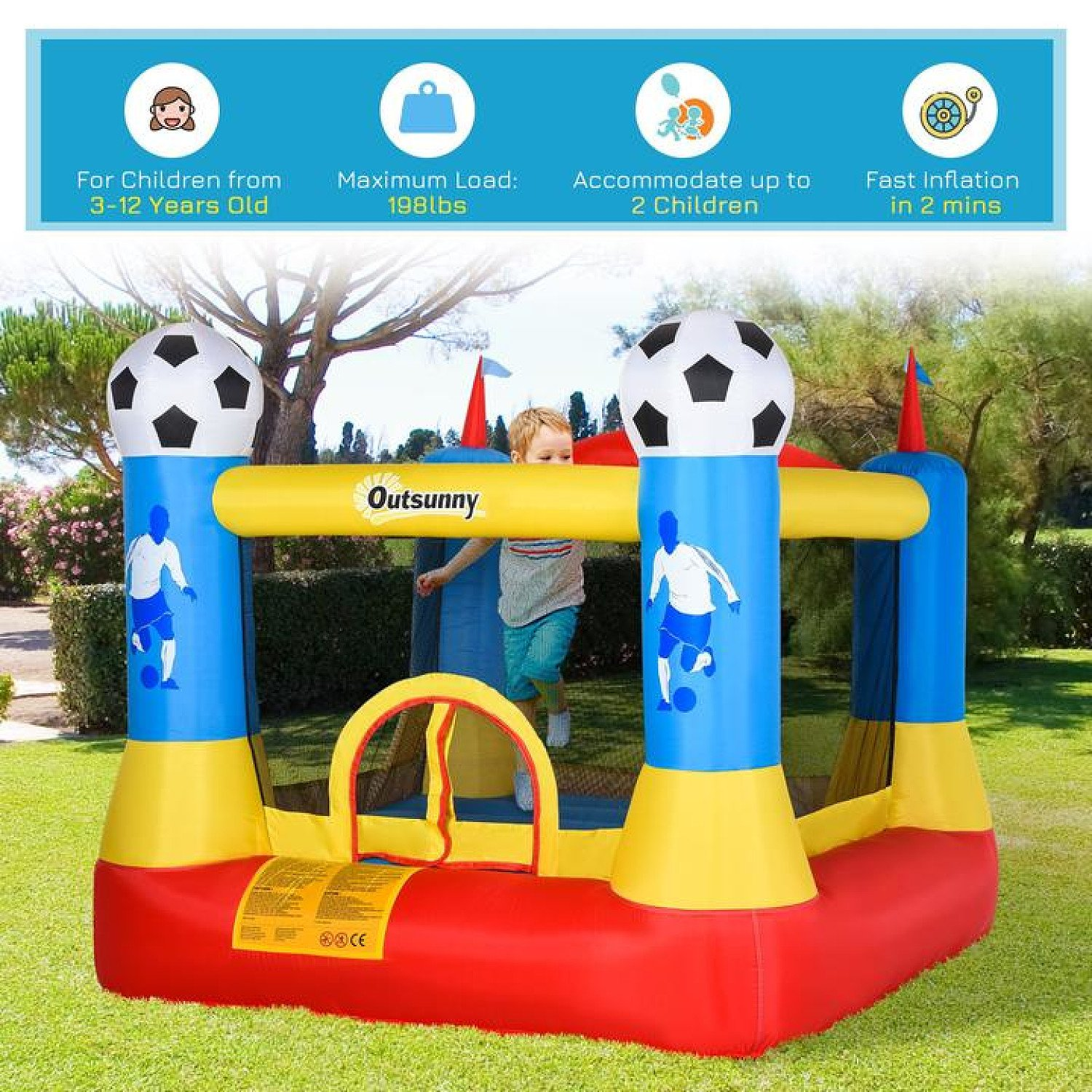 Kids Bouncy Castle House Inflatable Trampoline with Blower for Kids Age 3-12 Free Postage