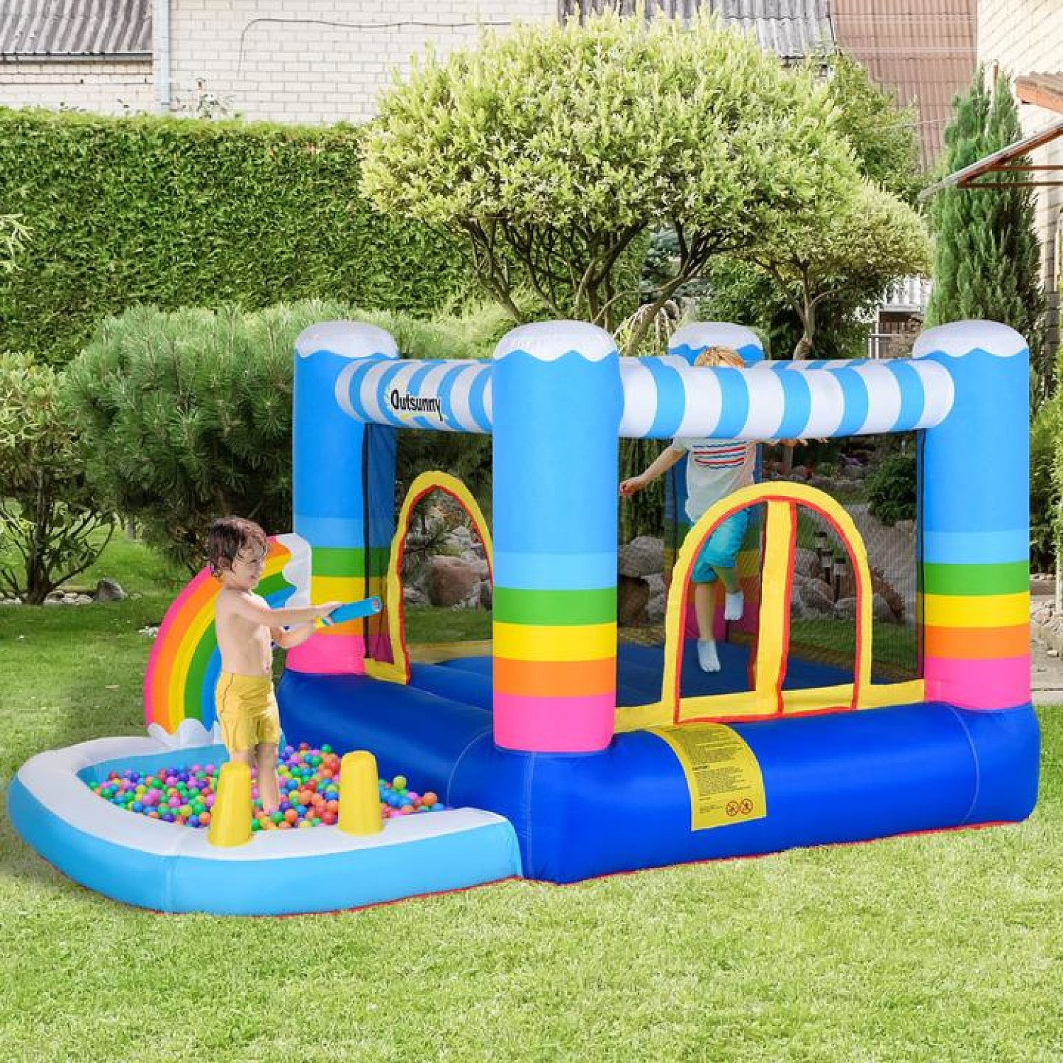 Kids Bouncy Castle House Inflatable Trampoline Water Pool 2 in 1 with Blower for Kids Age 3-12 Free