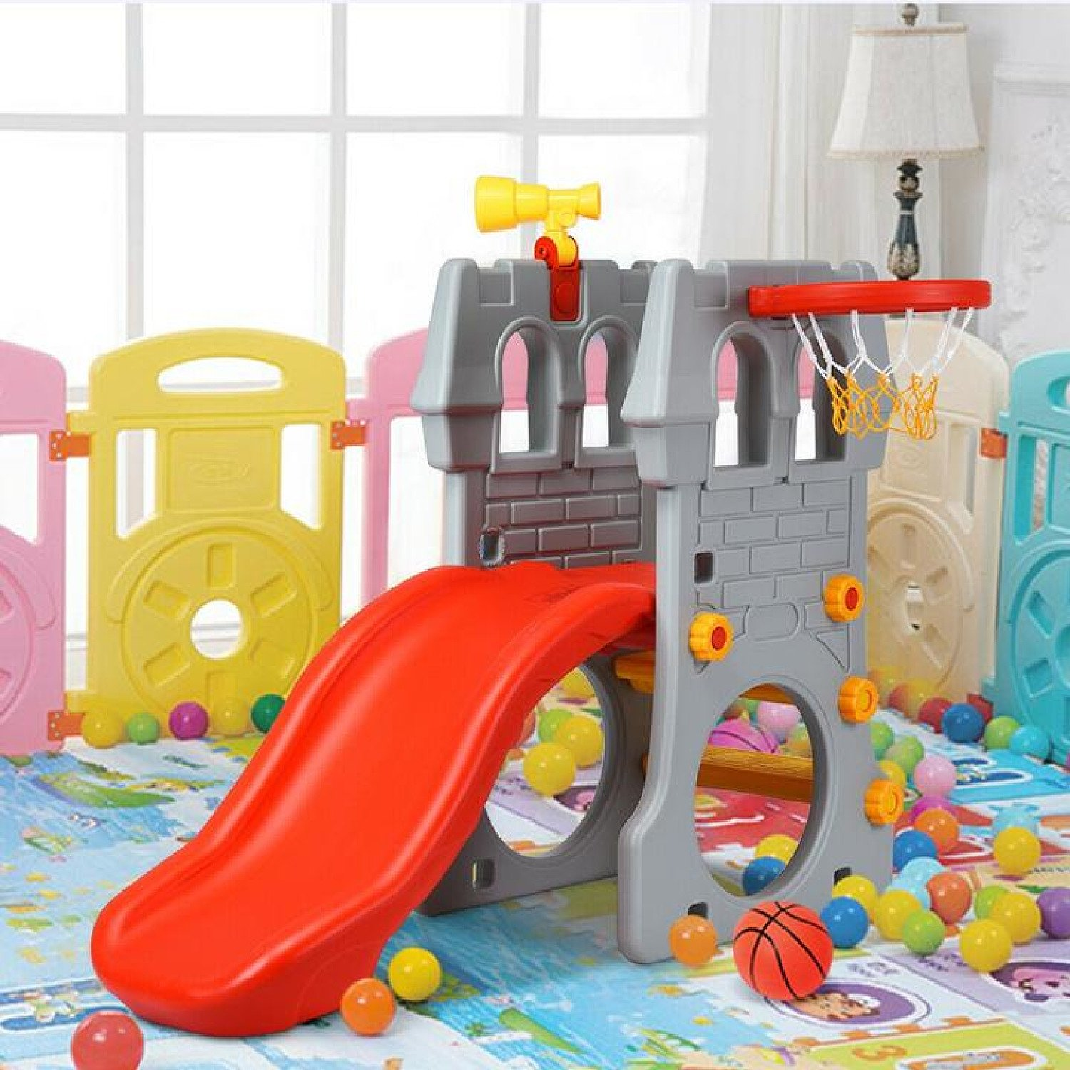 Toddler Climber Castle Slide Set with Basketball Hoop for In / Outdoor Free Postage