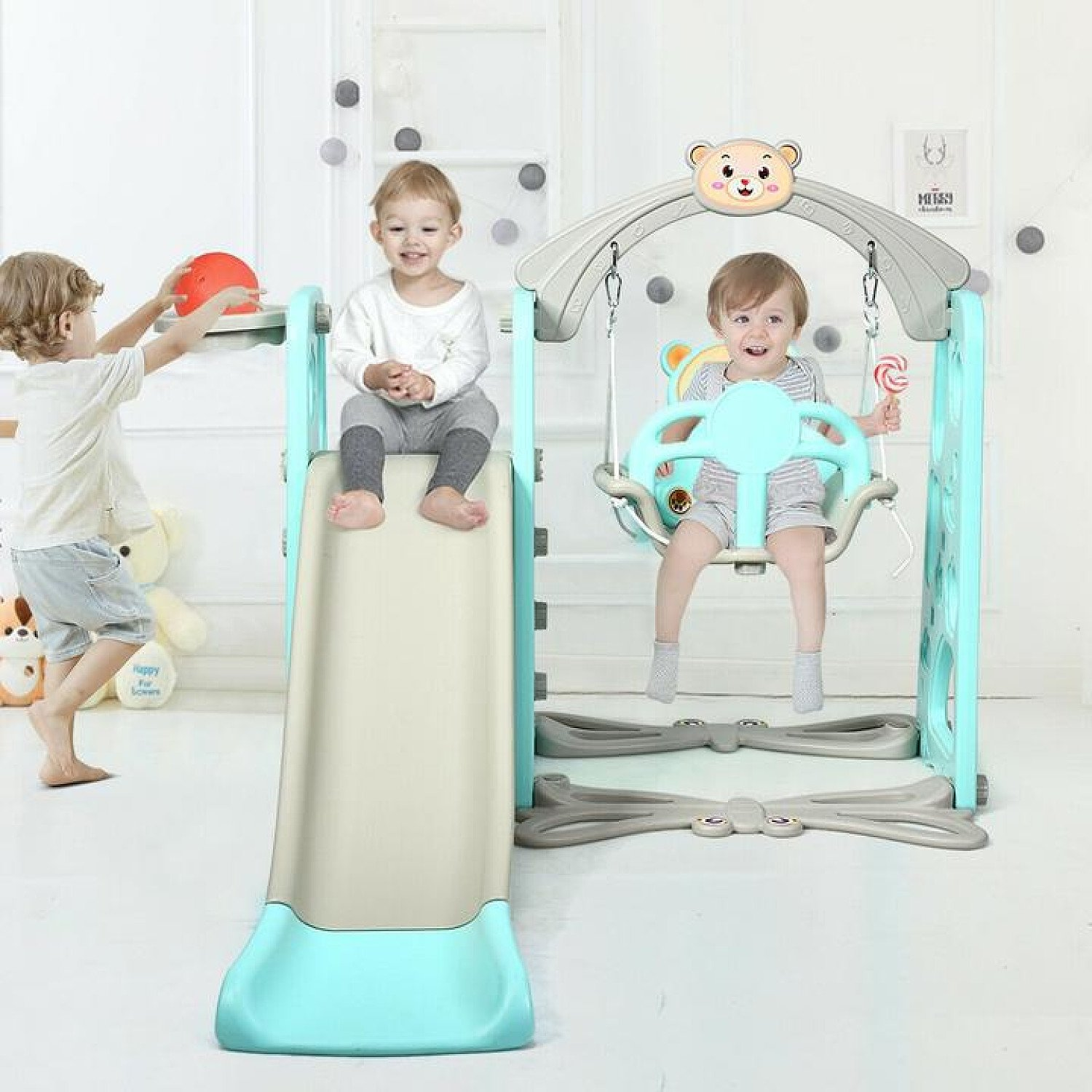 3 in 1 Toddler Slide and Swing Set Free Postage