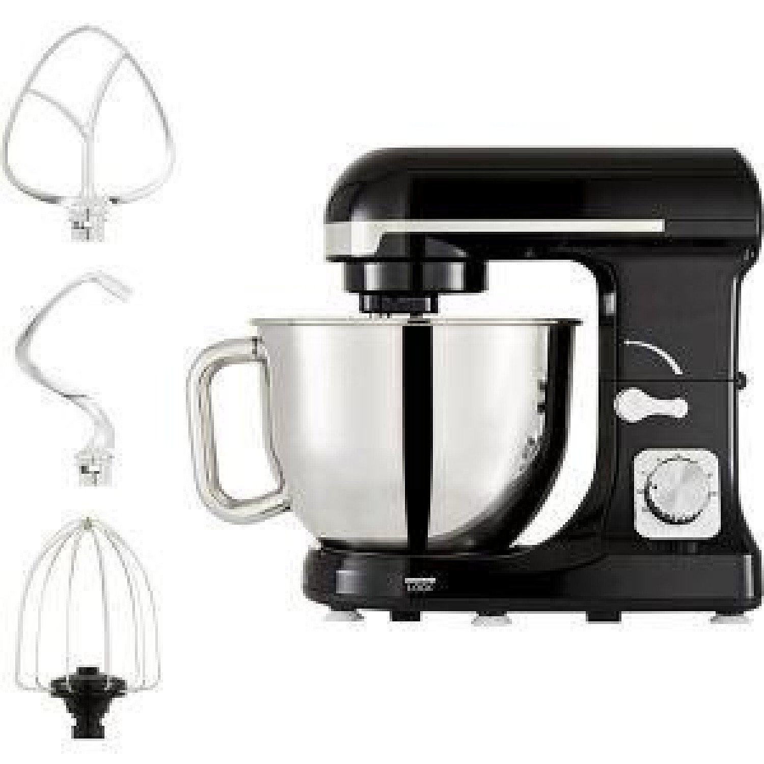 Tower 1000 W Black & Chrome Stand Mixer Removable 5 Litre Stainless Steel Mixing Bowl & Chrome Dough