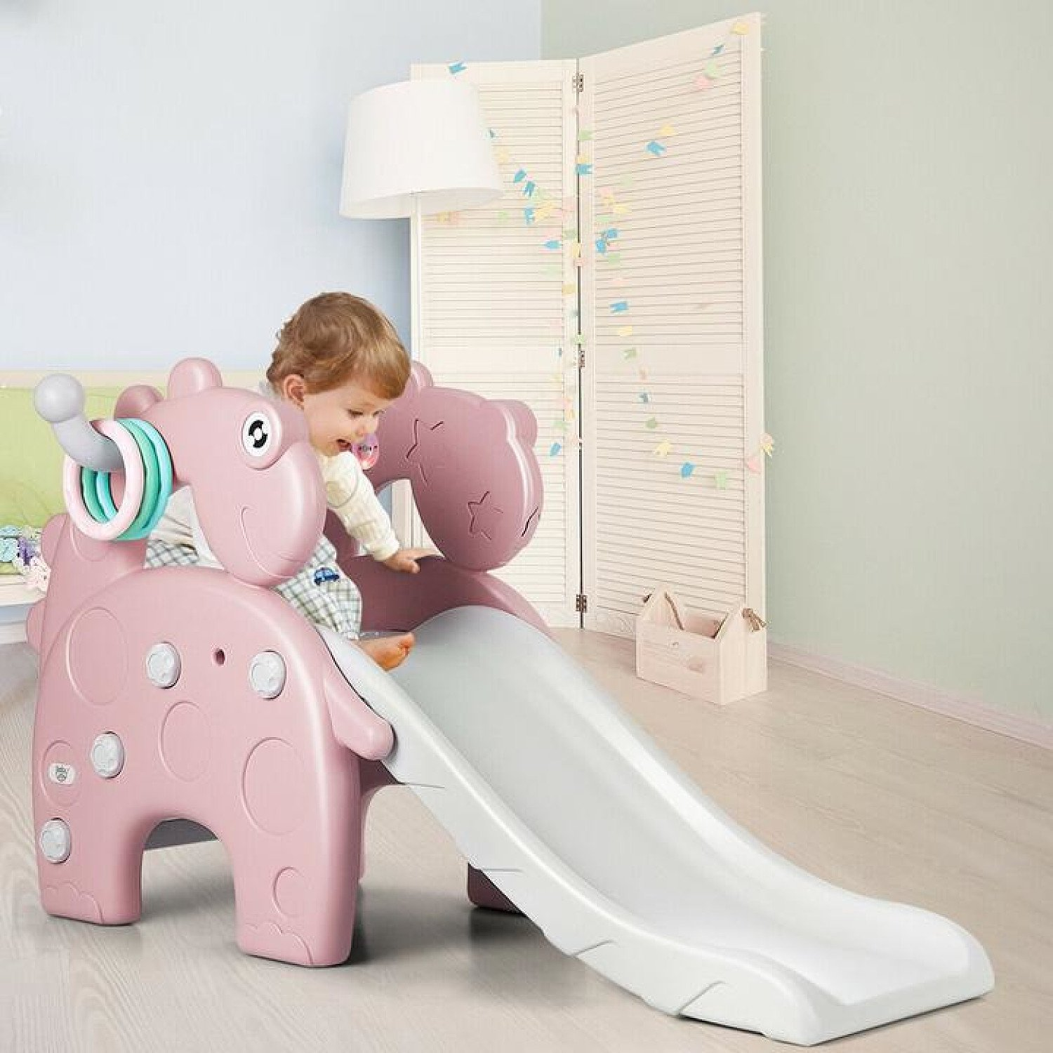 Pink 4-in-1 Kids Dinosaur shaped Slide, with Climbing, Basketball Hoop, and Ring Toss Game Free Post