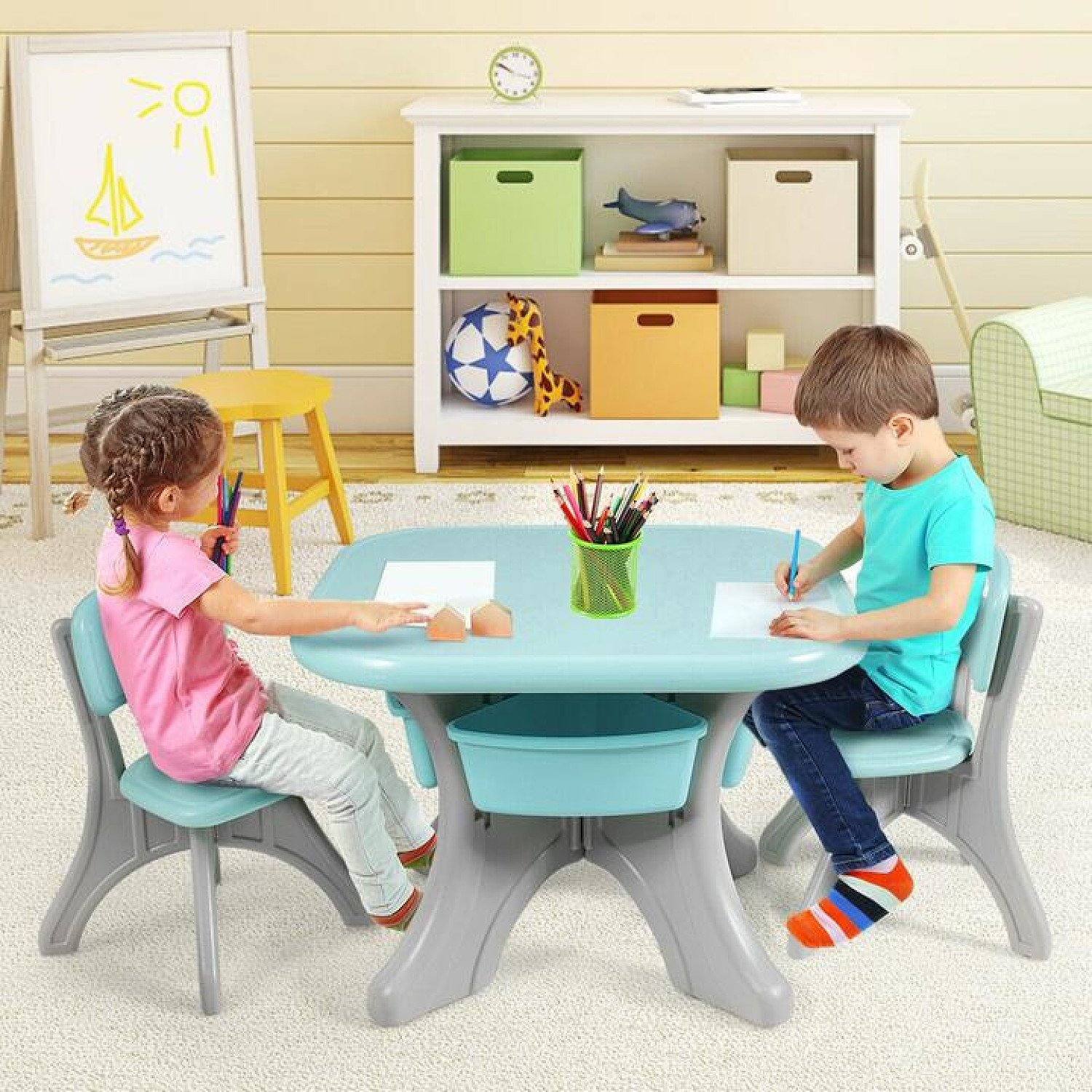 Kid's Table and Chairs Set Children Activity Art Table with Storage Bins Green Free Postage