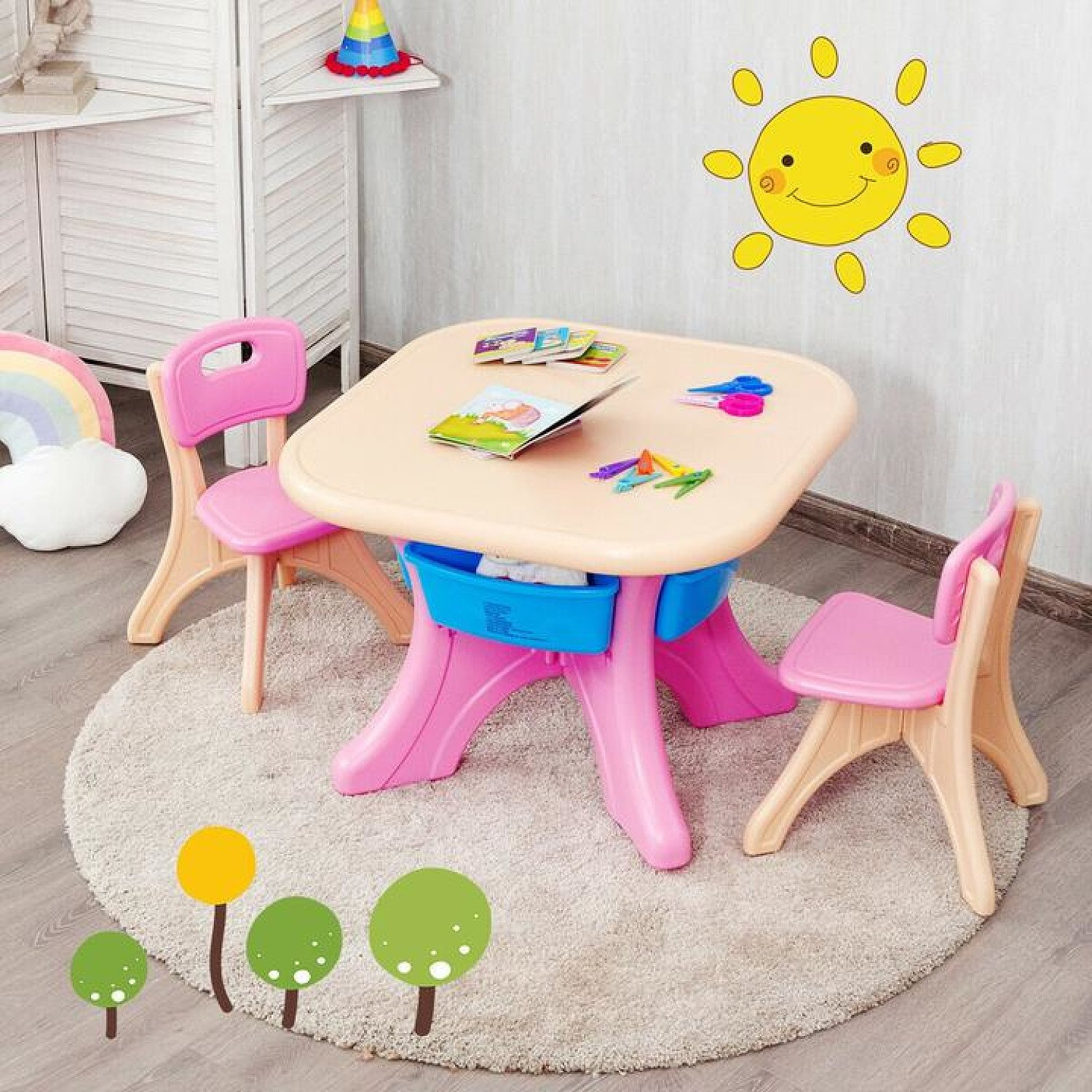 Kid's Table and Chairs Set Children Activity Art Table with Storage Bins Pink Free Postage