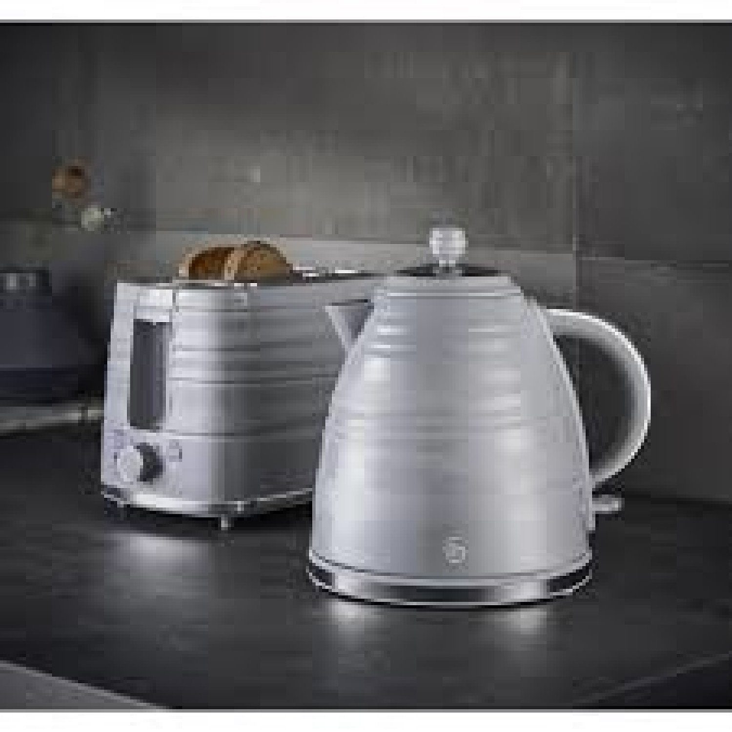 2Pc Swan Symphony Kettle & Toaster Set - Grey Free Postage