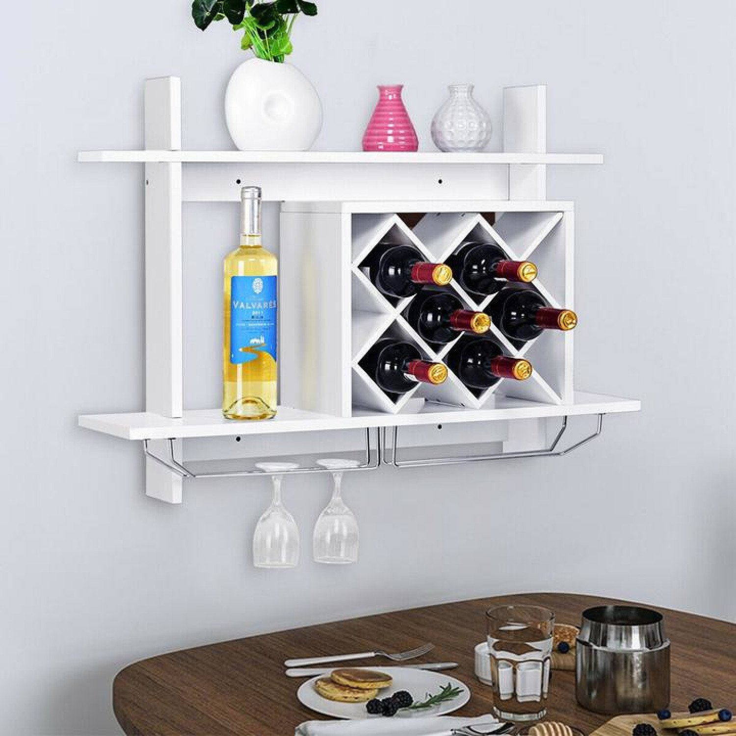 Wall Mounted Wine Rack for 6-Bottles with Storage Display Free Postage