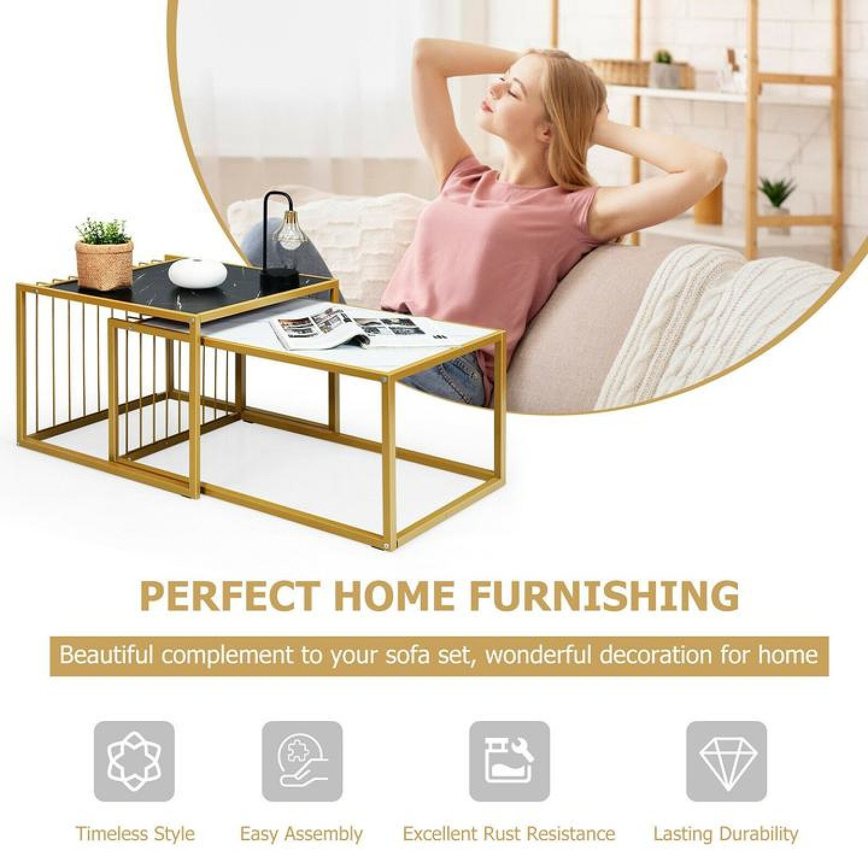 Modern Coffee Nesting Table Set Waterproof Faux Marble Free Postage