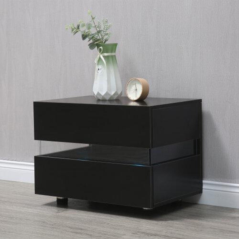 Black 2-Drawer RGB LED Bedside Table Free Postage