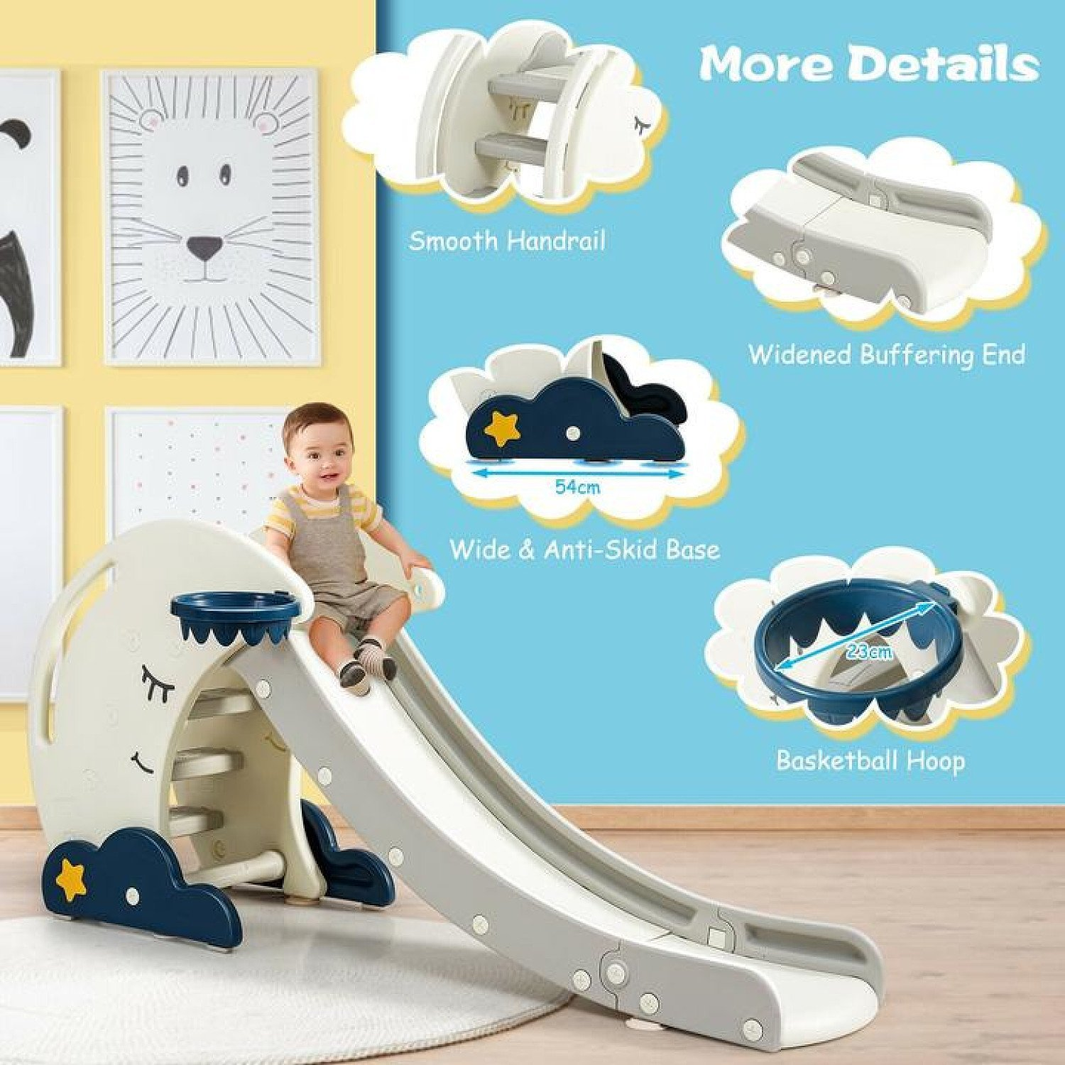 Kid's First Slide, Foldable Baby Climber Set with Basketball Hoop Free Postage
