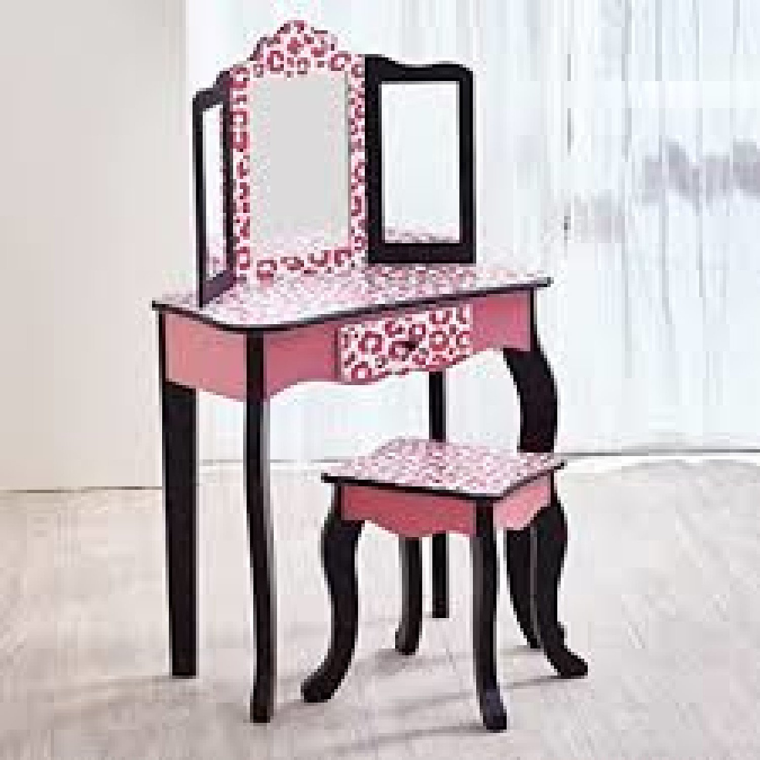 Kids Vanity Set Wooden Dressing Table With Mirror & Stool Pink