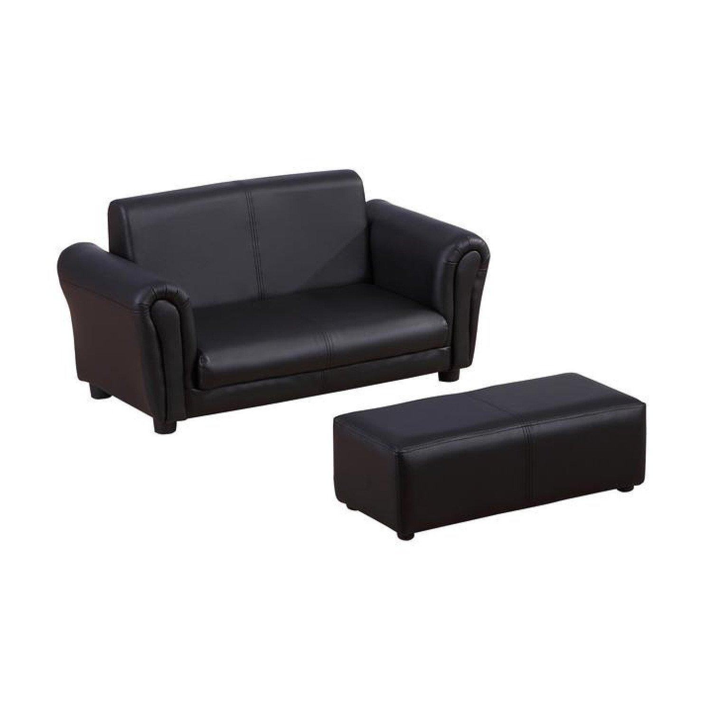 Kids PVC 2-Seater Mini Sofa Set w/ Footstool Black or White Free Postage