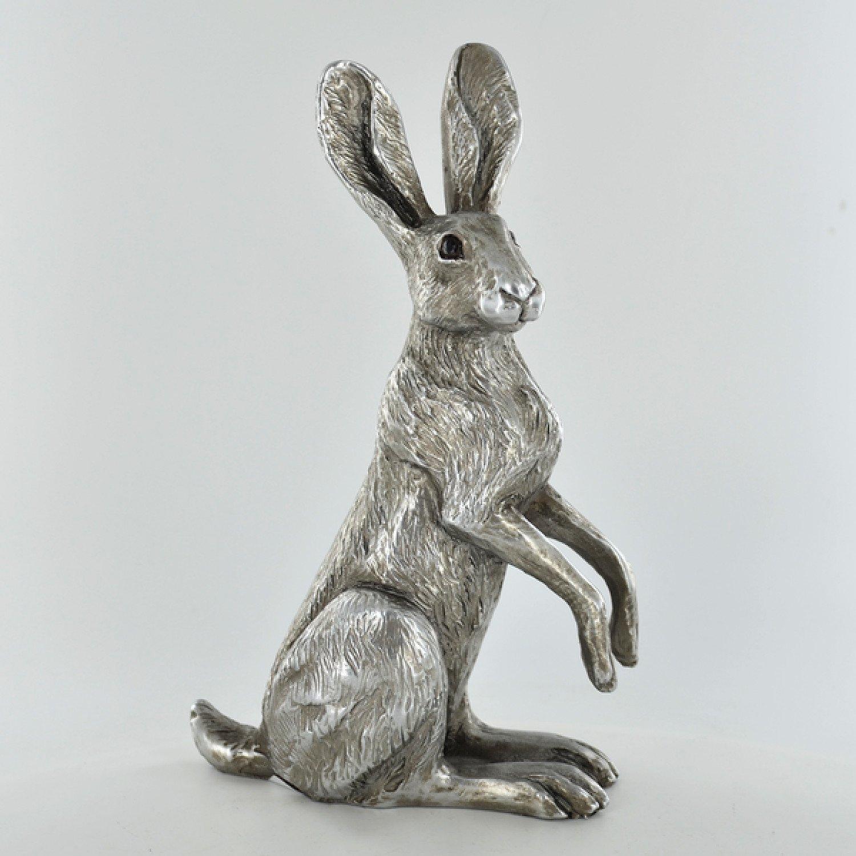 Antique Silver Poppy Hare Ornament