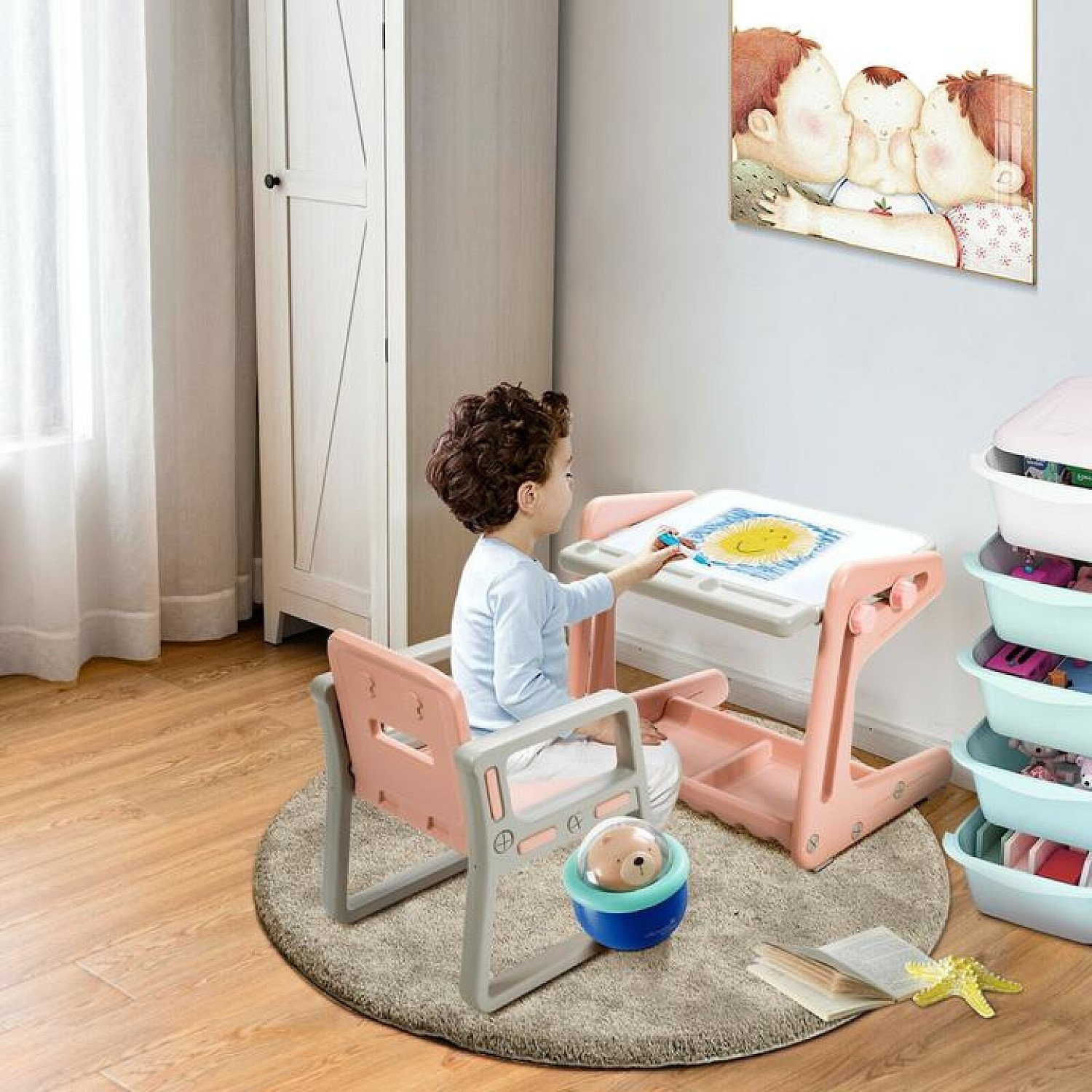 Kids Table and Chair Set Art Easel Study Desk Magnetic Pink Free Postage