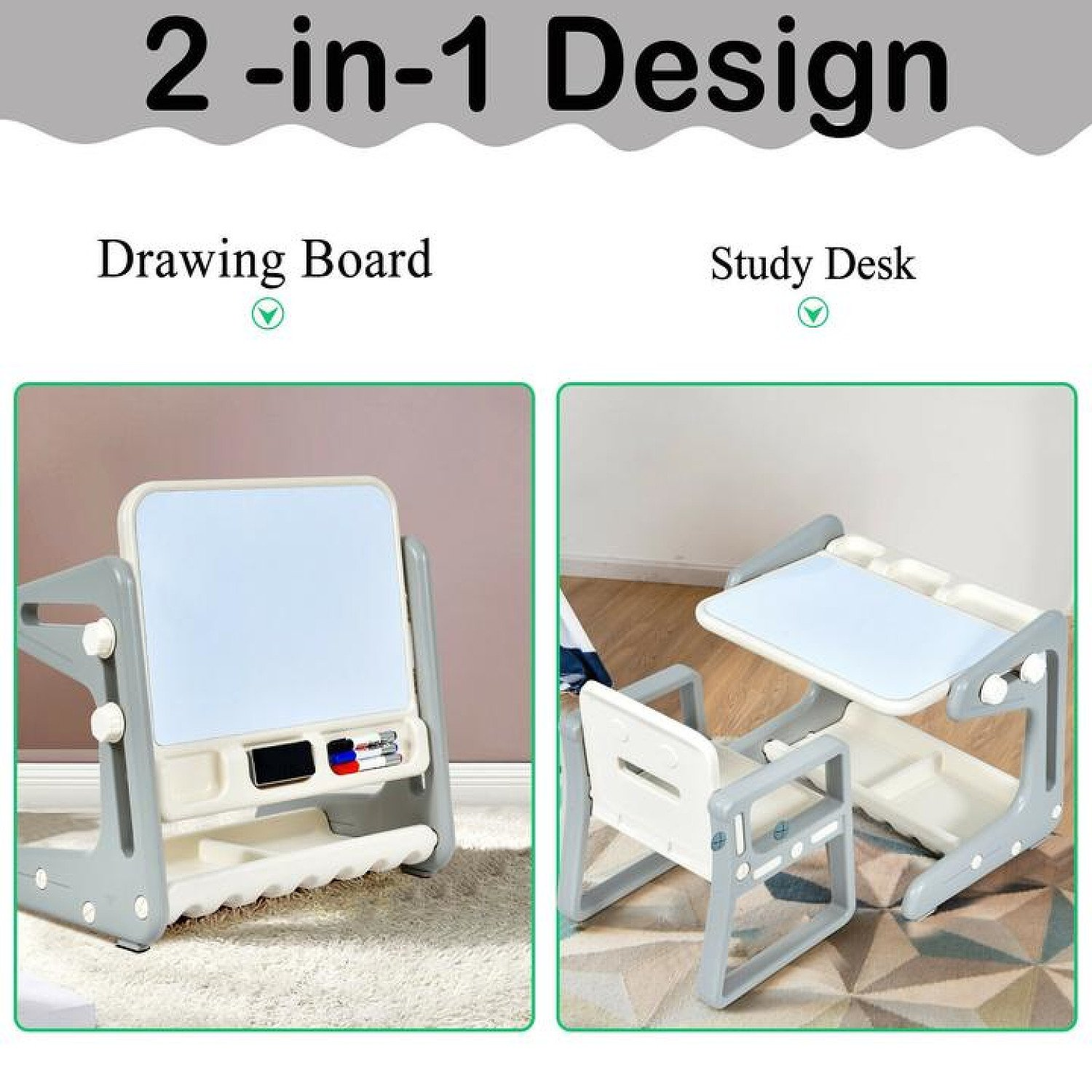 Kids Table and Chair Set Art Easel Study Desk Magnetic Grey Free Postage