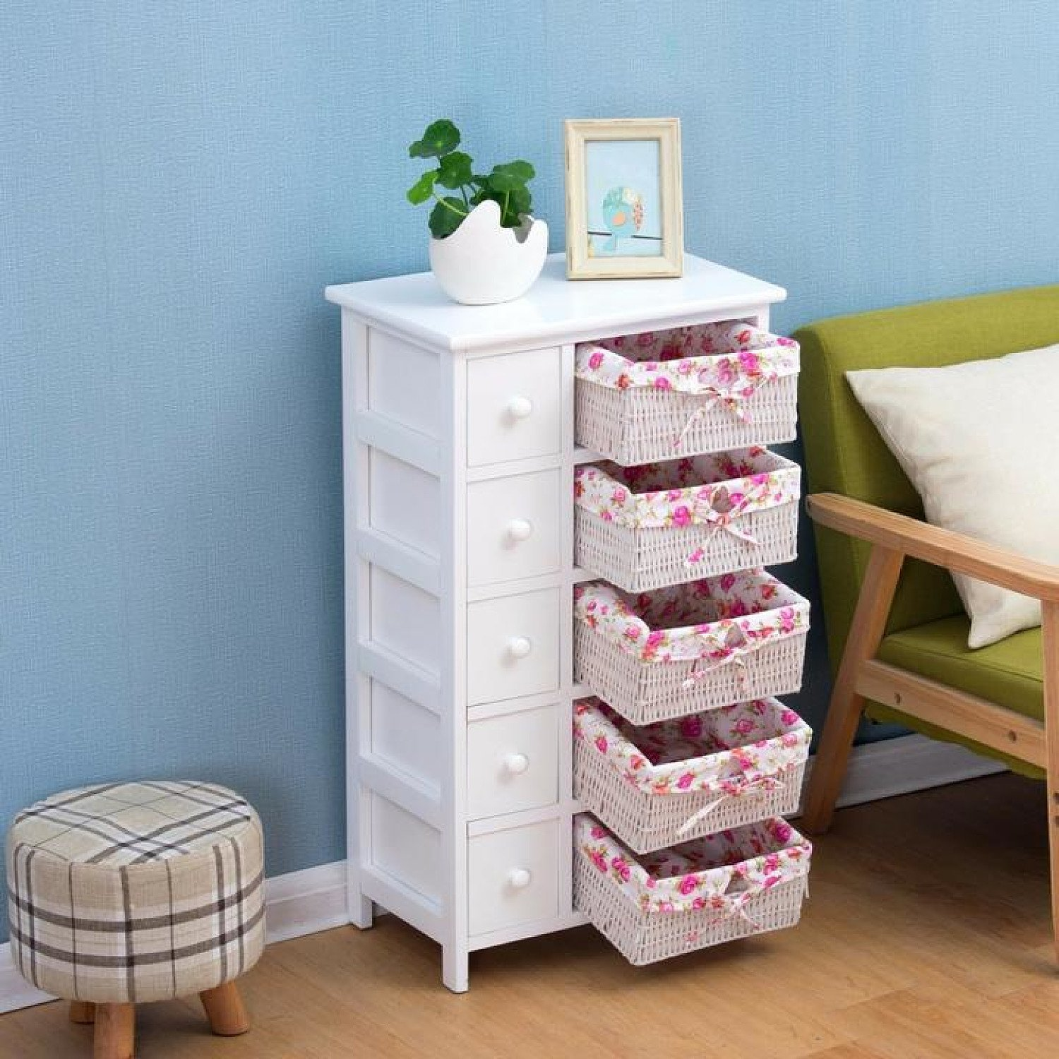 Furniture White 5-Layer Cabinet Drawer Chest with Floral Wicker Baskets Free Postage