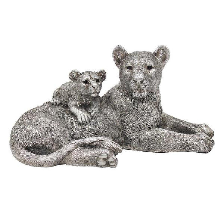 Reflections Silver Lying Lion & Cub Figurine By Leonardo