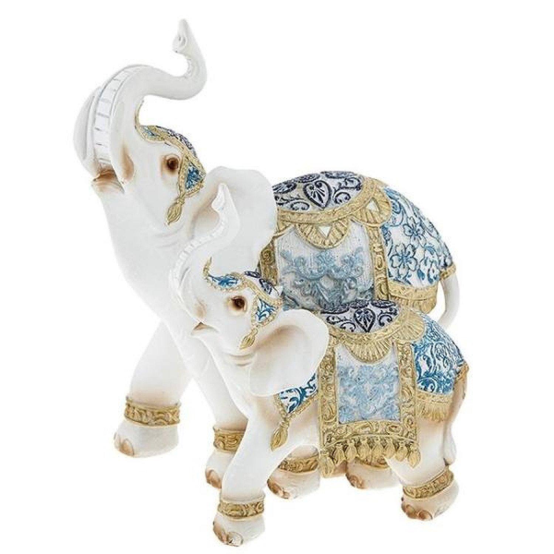 Bombay Blue Elephant Mum/Baby Ornament
