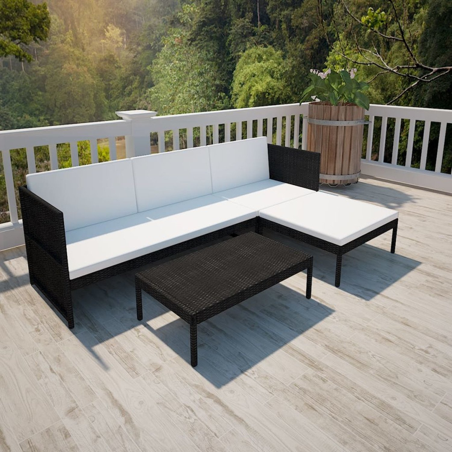 Lovely Rattan Lounge Set white with black cushions - free delivery
