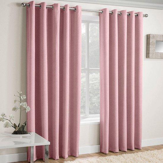 Vogue Textured Block-Out Thermal Eyelet Curtains Blush Pink
