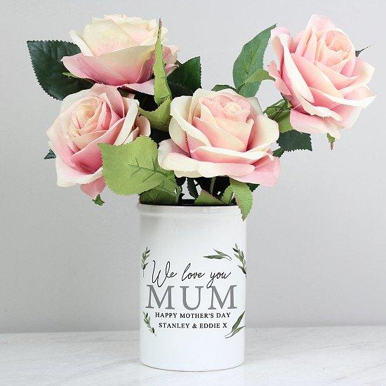 Personalised Botanical Flower Pot Straight Sided Flower Pot
