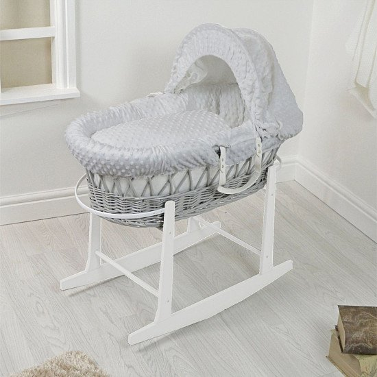 Padded Grey Wicker Moses Basket & Rocking Stand - Grey Dimple