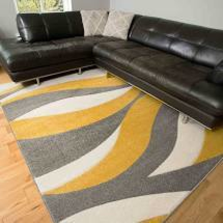 Soft Modern Wave Pattern Yellow Grey Rugs - Westland