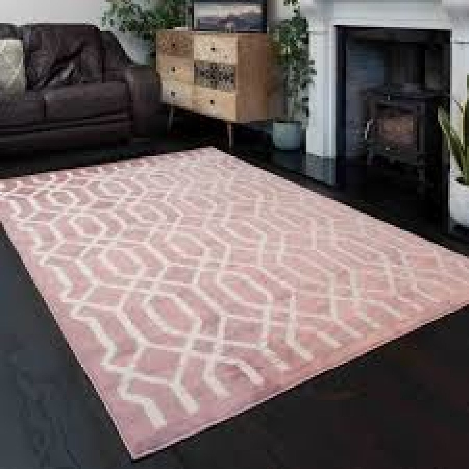Modern Blush Pink Geometric Bedroom Rugs - Enzo