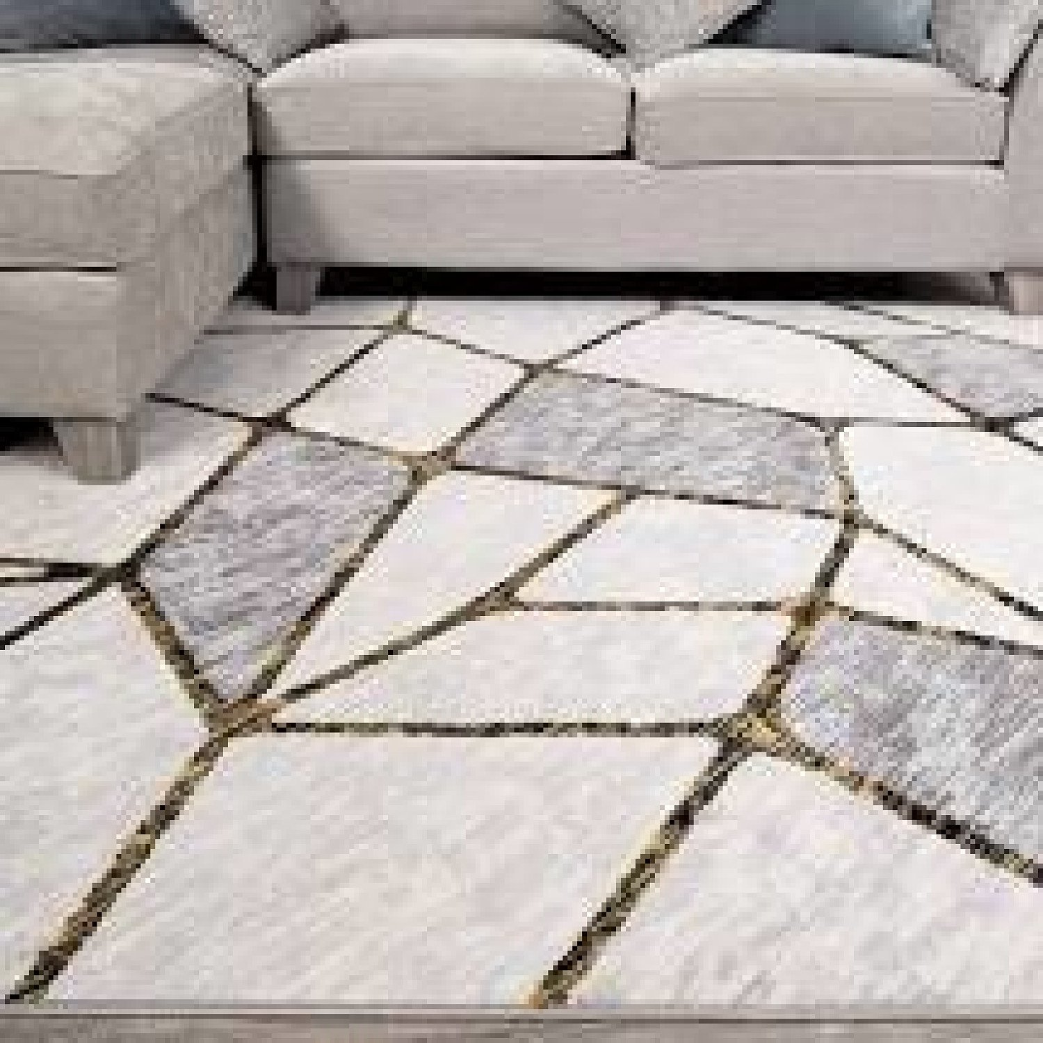 Modern Gold Abstract Mosaic Living Room Rugs - Hatton