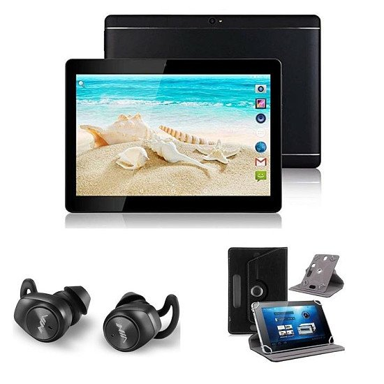 """Black) 10.1"""" Android 8 Tablet Bundle (Earbuds and Leather Case)"""