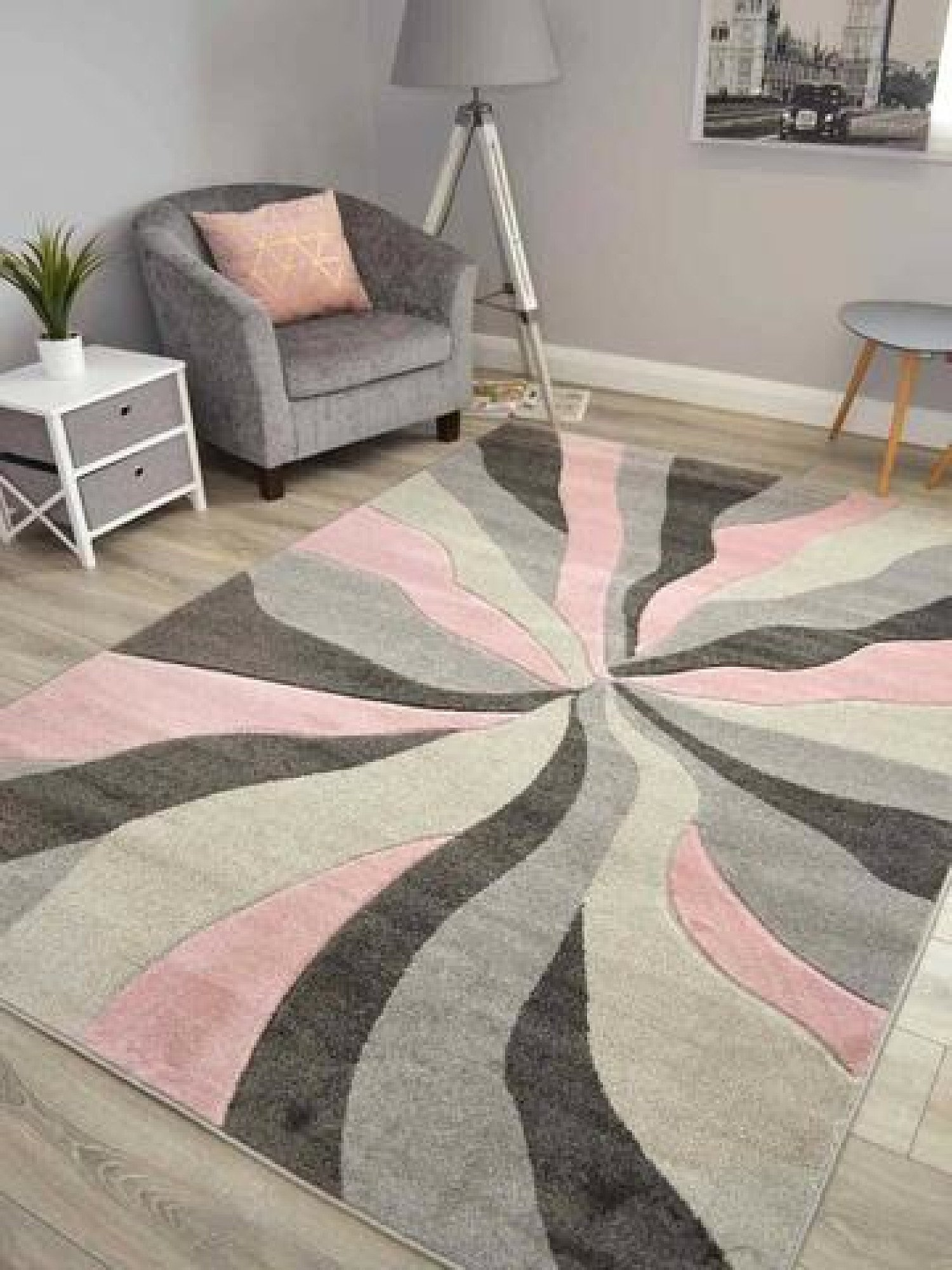 Hudson Pink Splinter Rug  - different sizes and prices in description