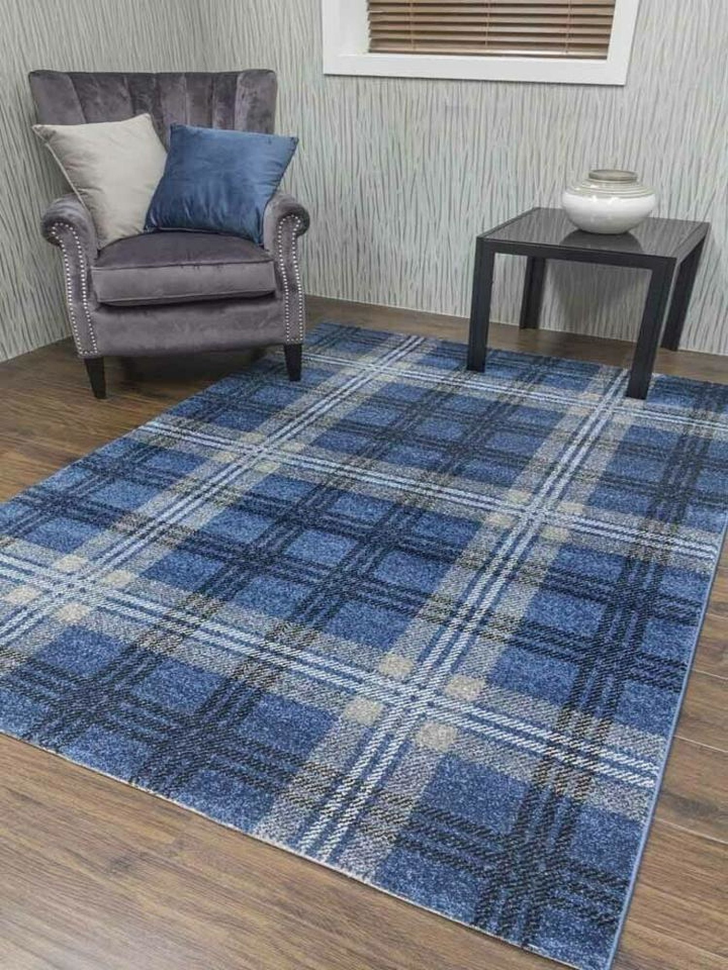 Glendale Denim Blue Tartan Rug - different sizes and prices in description- Free Postage