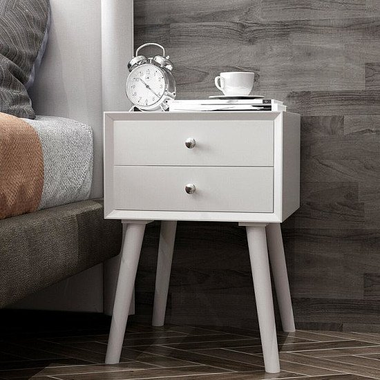 Wooden Nightstand Bedside Table with 2 Drawers
