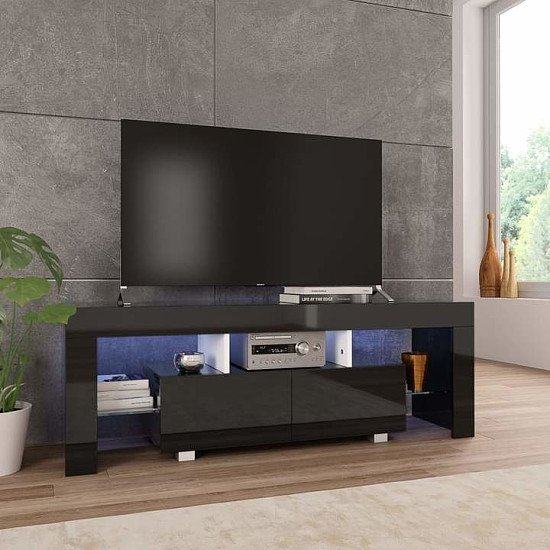 TV Cabinet with LED Lights 130x35x45 cm High Gloss Black