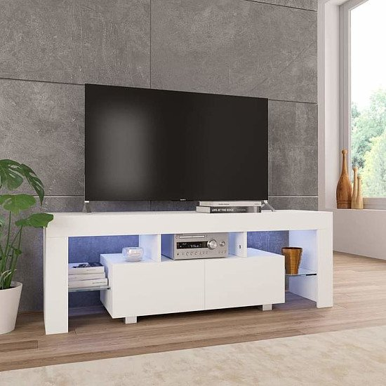 TV Cabinet with LED Lights 130x35x45 cm High Gloss White