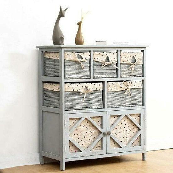 Furniture Grey Paulownia Solid Wood Sideboard Drawer Chest with Wicker Baskets