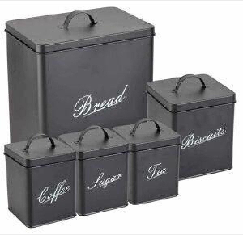 5pc Kitchen Storage Tin Canister Set Coffee/Tea/Sugar/Biscuits/Bread Black
