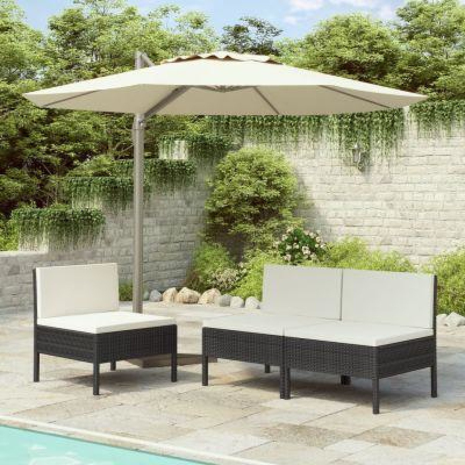 GARDEN CHAIRS 3PCS WITH CUSHIONS POLY RATTAN - Free Delivery £235