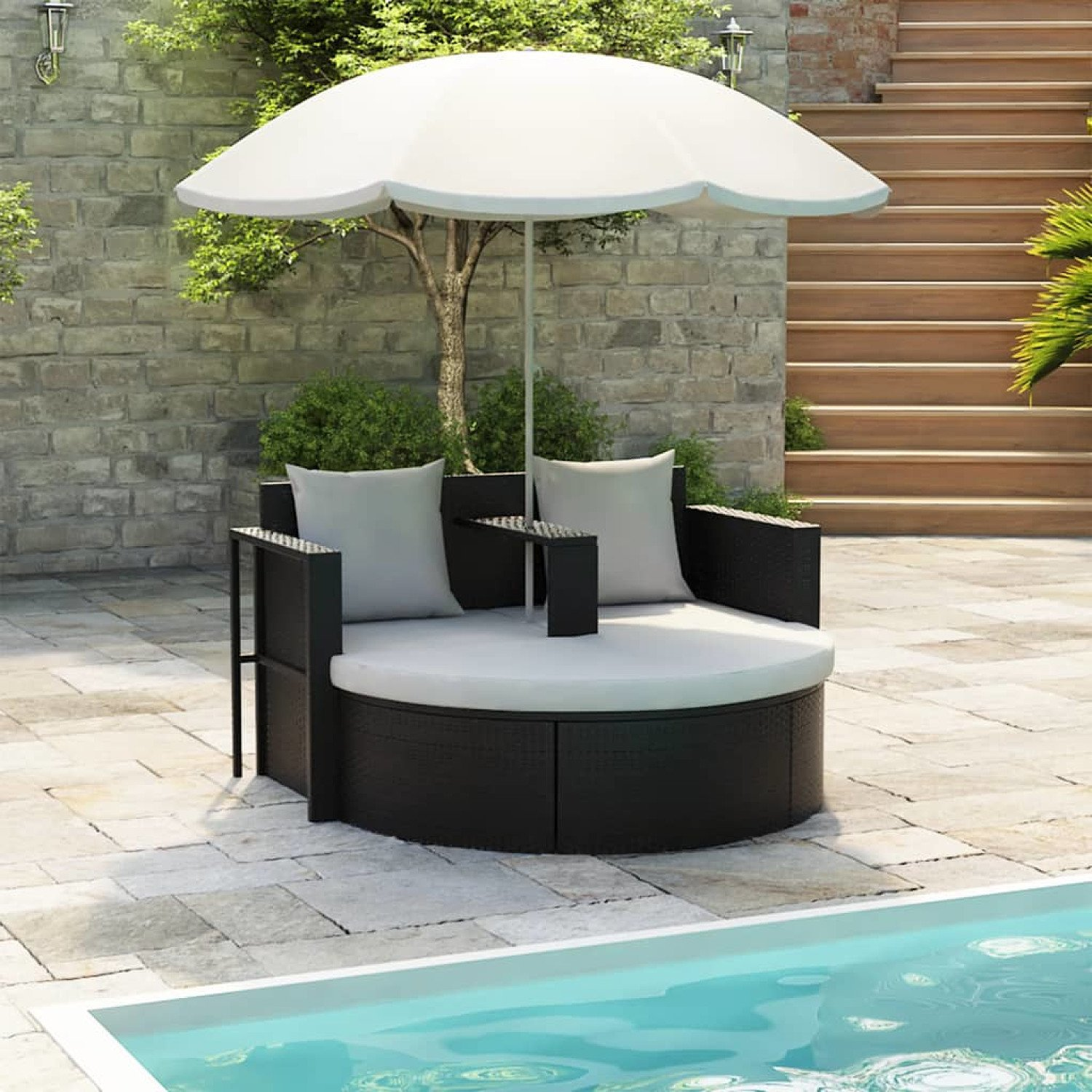 Get ready for Spring - Garden Bed with Parasol - Black Poly Rattan - free Delivery £354.99