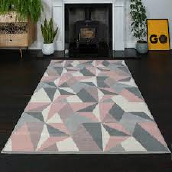 Milan pink and grey rug