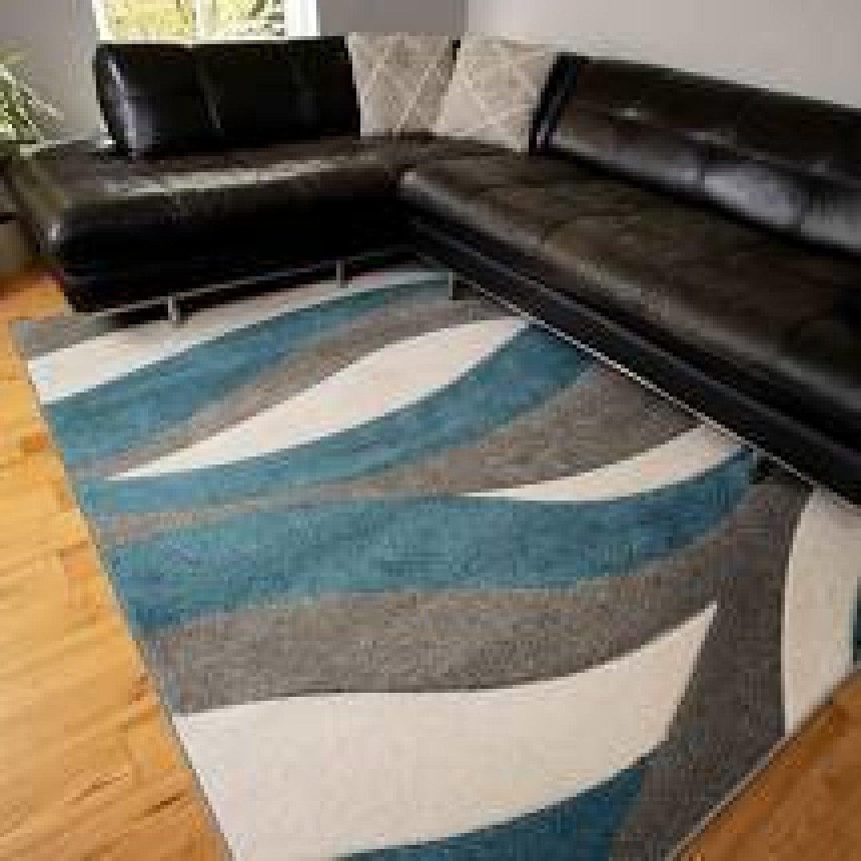 Soft Modern Wave Pattern Blue Grey Rugs - Westland