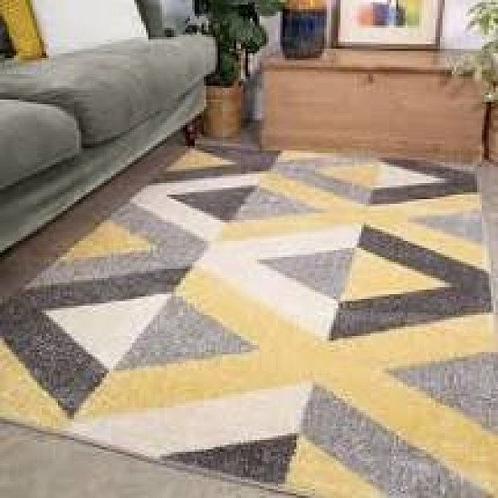 Yellow and grey modern rug